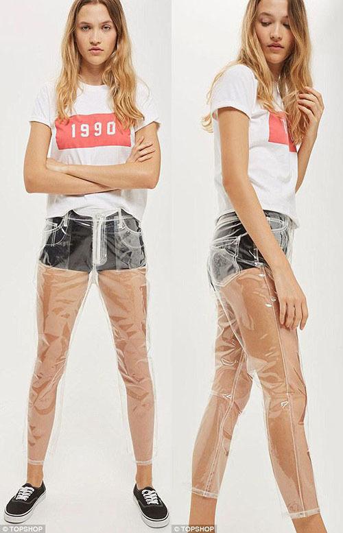 Thương hiệu thời trang nổi tiếng của Anh, Topshop cũng từng cho ra một mẫu quần jeans vải nhựa, trong suốt xuyên thấu.