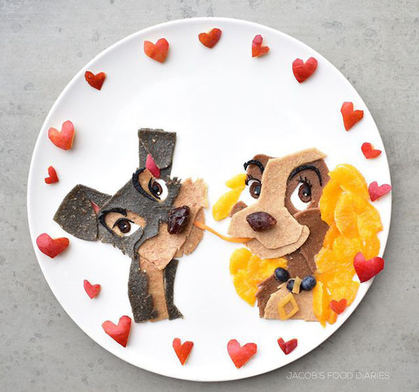 Món ăn được trang trí theo một nhân vật hoạt hình, hoặc truyện tranh.
