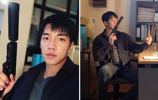 Hậu trường bức ảnh tự sướng cầm súng ra vẻ cool ngầu của Lee Seung Gi.