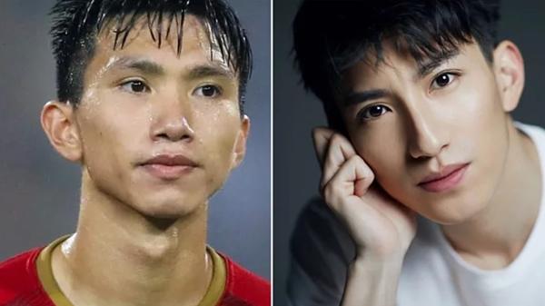 Từng góc mặt của Văn Hậu và diễn viên người Trung Quốc được đem ra so sánh.