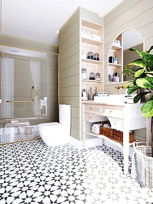 Phòng tắm sử dụng nền gạch hoa, vách kính trong suốt.