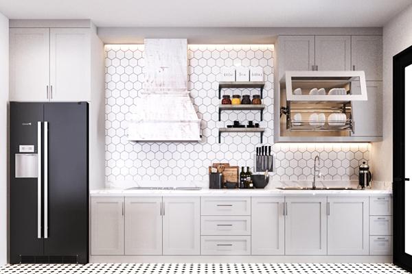 Phòng bếp theo phong cách châu Âuthông với phòng khách.