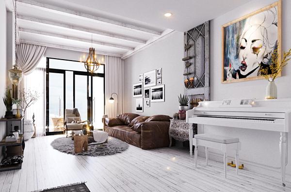 Đàn piano được đặt tại một góc riêng trong phòng khách. Giọng ca Màu nước mắt chia sẻ, thời gian tới, anh sẽ bày trí thêm cây cối để căn hộ trở nên thoáng mát.