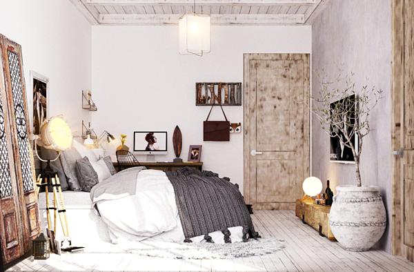 Phòng ngủ nhỏ treo ảnh và một số vật dụng lưu niệm.