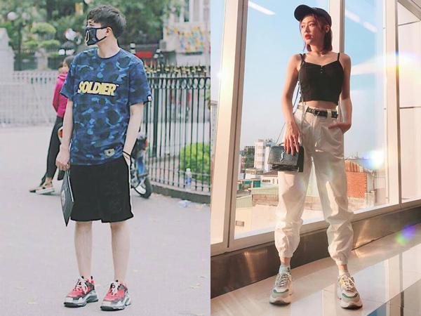 Ngoài những món đồ giống hệt nhau, Trịnh Thăng Bình và Liz còn có giày đôi là Balenciaga Triple S - dáng sneakers siêu ngầu được nhiều fashionista yêu thích.