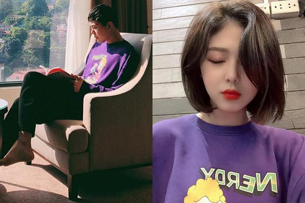 Chiếc áo nỉ màu tím dùng chung khẳng định thêm sự thân thiết giữa giọng ca Tâm sự tuổi 30 và nữ idol.