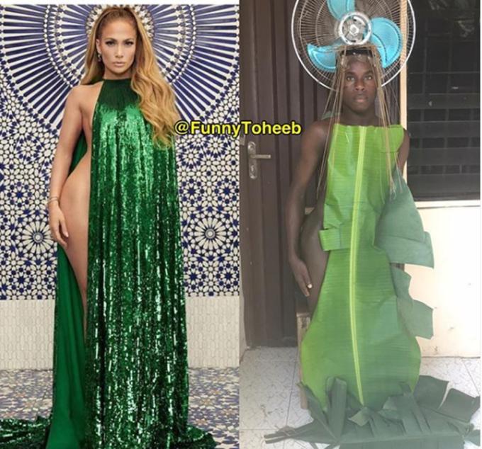 """<p> Có vẻ như lá chuối là """"nguồn cảm hứng"""" của anh chàng này khi liên tục được sử dụng trong các shoot hình. Bộ đầm sequin nghìn đô của Jennifer Lopez đã trở nên """"thiên nhiên"""" hơn hẳn qua phiên bản của Funny Toheeb.</p>"""