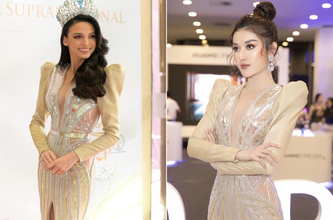 <p> Trước Huyền My, Hoa hậu Siêu quốc gia 2018 - Valeria Vazquez Latorre - từng diện thiết kế này khi đến Việt Nam hồi đầu tháng 3. Nếu Valeria chọn cách trang điểm nhẹ nhàng với mái tóc uốn xoăn tinh tế, Huyền My lại thích phong cách nổi bật và ấn tượng.</p>