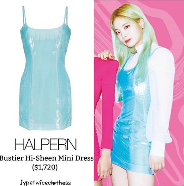 Chiếc váy màu pastel ánh nhũ độc đáo của Da Hyun cũng có mức giá khá đắt đỏ. Thiết kế hai dây của Halpern tốn đến 40 triệu đồng để sắm về.