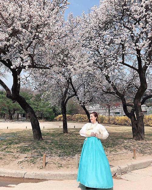 Bảo Thy xúng xính hanbok trong mùa hoa anh đào Hàn Quốc.