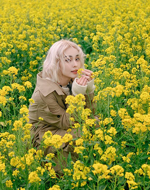 MLee xinh đẹp giữa cánh đồng hoa đẹp như cổ tích ở Hàn Quốc.