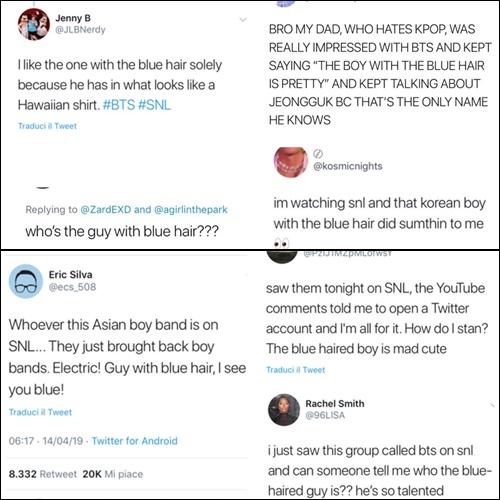 Phản ứng của netizen Mỹ về chàng trai tóc xanh của BTS.