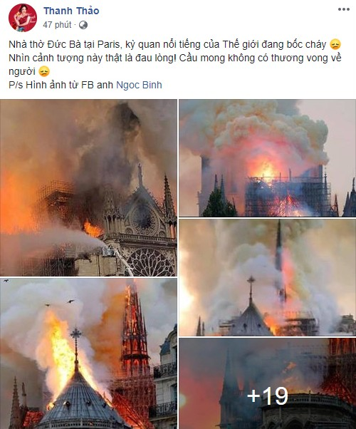 Nhiều sao Việt đau xót, cầu nguyện trước vụ cháy Nhà thờ Đức Bà Paris - 1