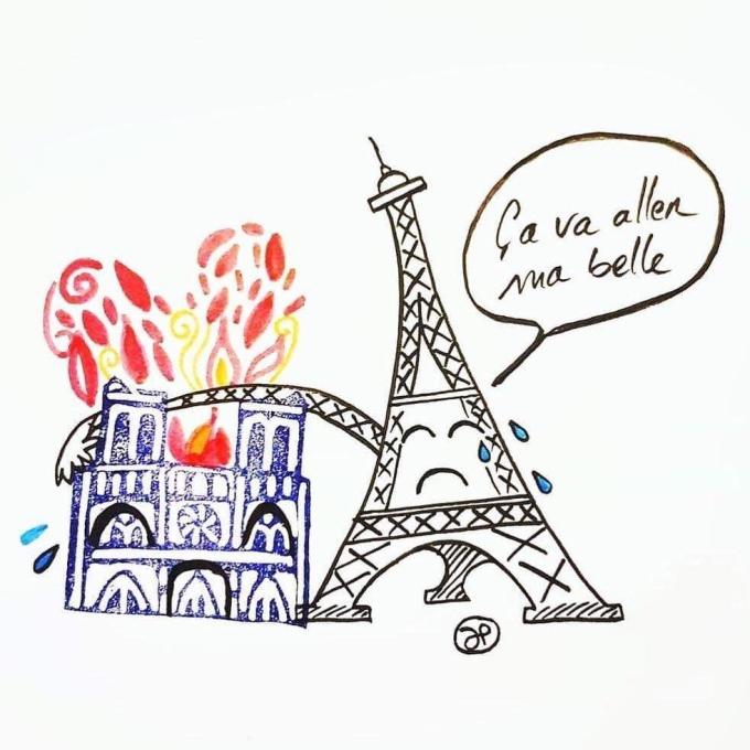 <p> Nếu có thể, tháp Eiffel đã dang tay cứu lấy Nhà thờ.</p>