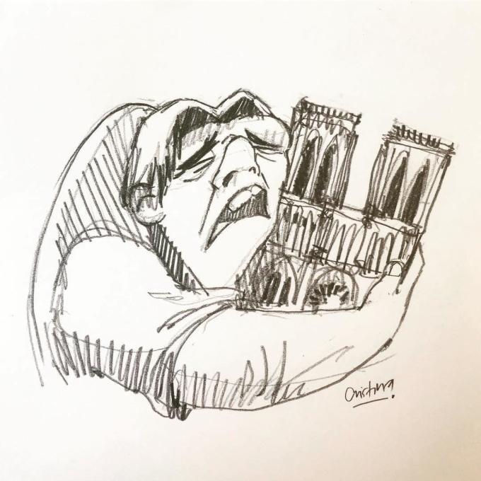 """<p> Hình ảnh thằng gù Quasimodo trong tiểu thuyết <em>Nhà thờ Đức Bà Paris </em>của Victor Hugođược lấy cảm hứng cho rất nhiều bức vẽ. Nghệ sĩ Cristina Correa Freile nói rằng cô đã vẽ bức tranh Quasimodo ôm lấy Notre Dame sau khi nghe tin về vụ cháy. """"Ngay bây giờ, hình ảnh này chính là cảm xúc của người dân"""",Freile chia sẻ.</p>"""