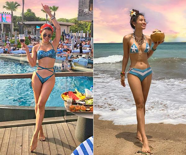 Mùa hè của cô nàng luôn gắn liền với những chuyến du lịch, nghỉ dưỡng ở các thiên đường biển. Làn da nâu khỏe khoắn của Phương Trinh được tôn lên bằng đủ kiểu áo tắm táo bạo.