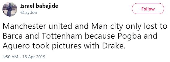 Manchester United,Manchester City thua trận trước Barca và Tottenham là vì Pogba và Aguero đã chụp ảnh với Drake.