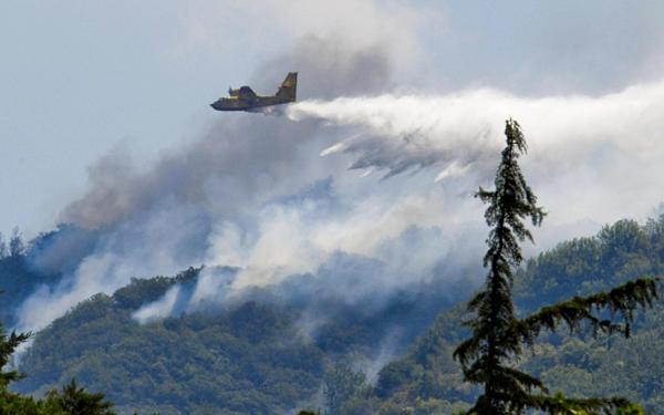 Một chiếc máy bay chữa cháy Canadair thả nước xuống đám cháy rừng ở Italy. Ảnh: CIRO FUSCO / ANSA