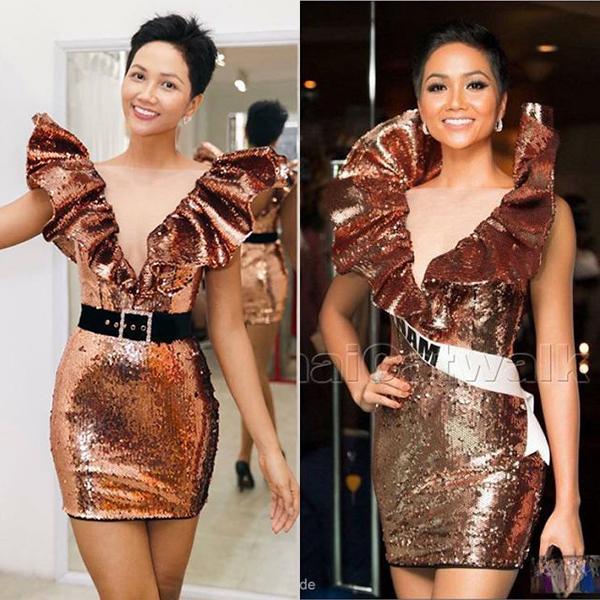 Những người hâm mộ Hoa hậu không khó để nhận ra bộ váy này từng được HHen Niê diện trong đêm tiệc ra mắt ở Miss Universe 2018. Thiết kế của NTK Kim Khanh ôm sát cơ thể giúp HHen Niê tôn đường cong. Màu kim sa nâu cũng rất phù hợp với làn da của HHen Niê. Trên một số diễn đàn sắc đẹp, nhiều fan tò mò việc người đẹp đã tái sử dụng chiếc váy hay may một thiết kế mới có kiểu dáng hao hao.