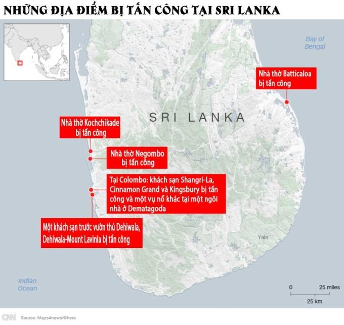 <p> Sau 6 vụ nổ vào buổi sáng, chiều 21/4, vụ nổ thứ bảy xảy ra tại khách sạn ở Dehiwala khu vực ngoại ô phía nam Colombo. Hai người thiệt mạng.<br /><br /> Vụ nổ thứ 8 diễn ra ở vùng ngoại ô Orugodawatta ở phía bắc thủ đô.</p> <p> Chuỗi các vụ tấn công đã khiến 207 người thiệt mạng và 450 người bị thương, trong đó có ít nhất 35 nạn nhân là người nước ngoài. Con số thương vong có thể còn tiếp tục tăng.</p> <p> Bộ trưởng Quốc phòng Sri Lanka xác nhận có 7 nghi phạm đã bị bắt, tuy nhiên, hiện chưa có nhóm nào đứng ra nhận trách nhiệm.</p>