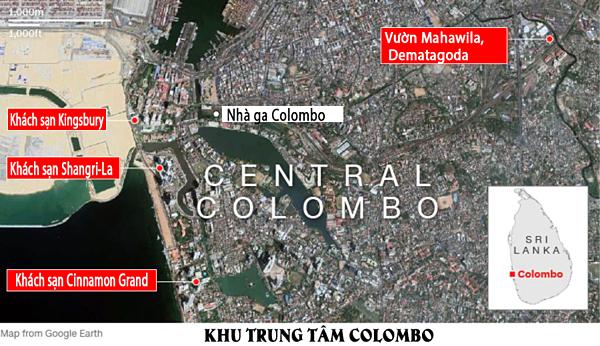 Các địa điểm đánh bom tại thủ đô Colombo. Đồ họa: CNN