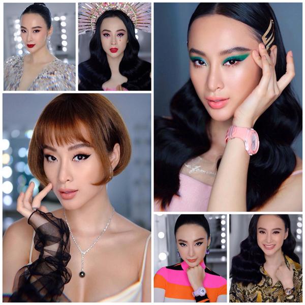 Được mệnh danh là nữ hoàng thảm đỏ, Angela Phương Trinh chưa bao giờ gây nhàm chán mỗi khi xuất hiện. Gương mặt của cô giúp chuyên gia trang điểm có thể thử những cách trang điểm táo bạo nhất, áp dụng nhiều tông màu sặc sỡ nhưng vẫn không bị sến.