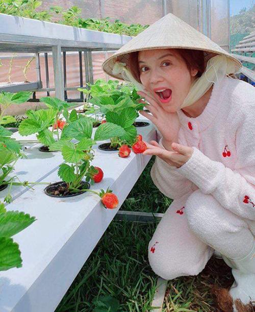 Lý Nhã Kỳ nhí nhảnh làm cô nông dân đi trồng dâu.