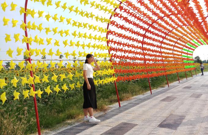 <p> Ngoài cánh đồng hoa hướng dương, các bạn trẻ còn được tạo dáng bên nhiều bối cảnh như con đường chong chóng.</p>