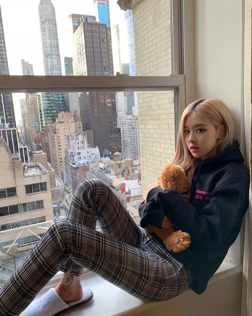 Rosé ôm gấu bông ngồi trên bậu cửa sổ như mấy thiếu nữ lãng mạn trong truyện teen.