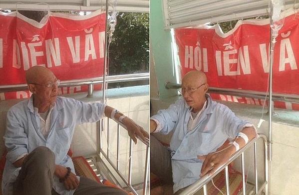 Nghệ sĩ Lê Bình tiều tụy trên giường bệnh vì căn bệnh ung thư.