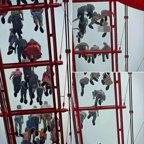 Hình ảnh được cho phản cảm khi chụp tại Cầu kính 5D ở Mộc Châu. Ảnh: Facebook.