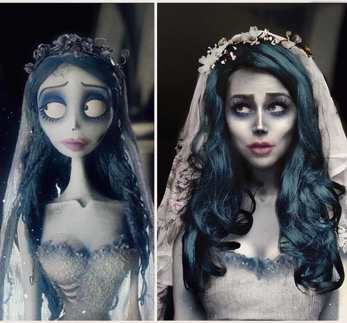 """<p> Jules khiến fan """"run rẩy"""" với tạo hình cô dâu ma trong bộ phim hoạt hình """"Corpse Bride"""".</p>"""