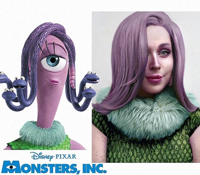 """<p> Không thích biến hình thành công chúa nữa, Jules chuyển sang hình tượng quái vật. Cô nàng cho """"người tình trong mộng"""" của Mike là Celia Mae bước ra ngoài đời thực. Jules bật mí Celia chính là biểu tượng thời trang trong lòng mình.</p>"""