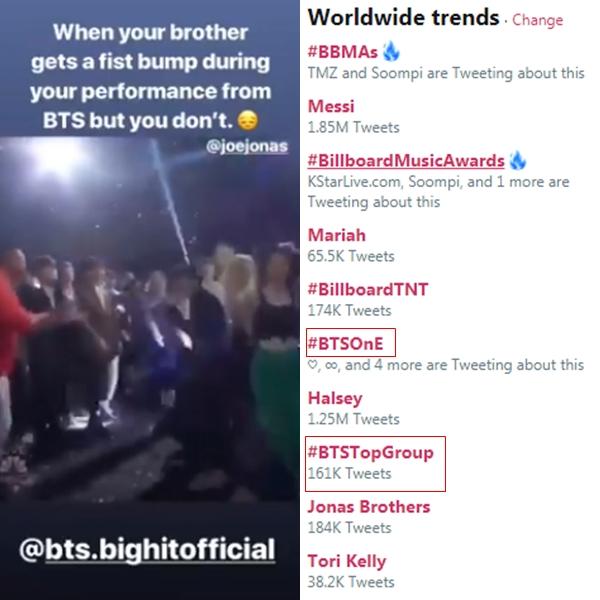 Nick Jonas tỏ ra ghen tị với người anh Joe Jonas vì được gặpBTS: Khi mà anh của mình được đập tay với BTS trong lúc biểu diễn nhưng mà mình không được. Những từ khóa về BTS cũng vào top trend toàn cầu Twitter nhiều giờ vừa qua.
