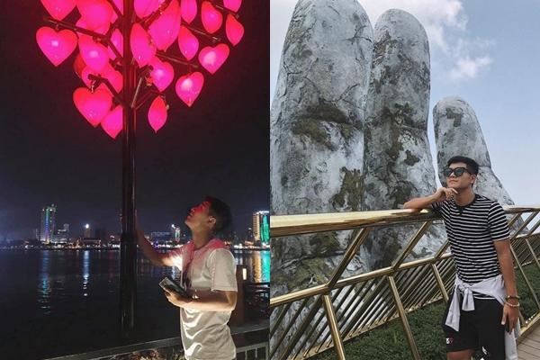 Hà Đức Chinh nhiệt tình so deep ở các địa danh nổi tiếng tại Đà Nẵng như cầu Tình yêu, cầu Vàng...