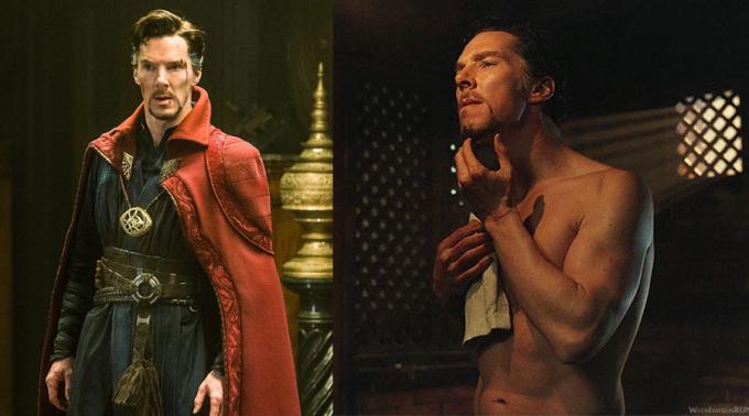 """<p> """"Doctor Strange"""" Benedict Cumberbatch có vẻ ngoài trí thức, nhìn tưởng gầy mà cởi áo ra mới biết """"không phải dạng vừa"""".</p>"""