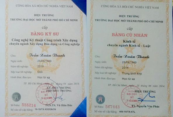 Hai tấm bằng đại học cử nhân của ông Trần Xuân Thanh vào năm 2014 và 2019.