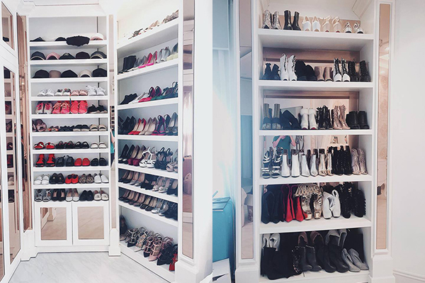 Nữ ca sĩ từng khiến người hâm mộ trầm trồ khi khoe không gian để quần áo, phụ kiện trong nhà là những dãy tủ đầy ắp hàng hiệu.