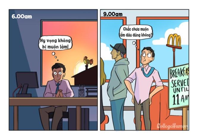 """<p> Hãy nhớ lại ngày đầu đi làm, bạn đến sớm thế nào. Giờ bạn luôn nằm trong """"top"""" các nhân viên đi muộn nhất công ty.</p>"""
