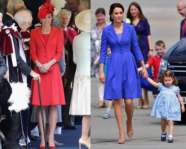 Những phiên bản màu sắc khác nhau của trang phục giúp Kate dễ dàng chọn lựa váy áo cho phù hợp với mục đích của từng sự kiện. Cô cũng không khó khăn để ăn vận tông xuyệt tông với các thành viên khác trong gia đình.