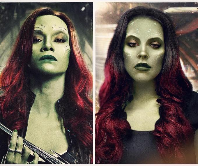 <p> Thần thái không vừa của Jules khi hóa trang hoàn hảo vẻ sexy của cô nàng Gamora trong<em>Galaxy of The Guardians - Vệ binh giải ngân hà</em>.</p>