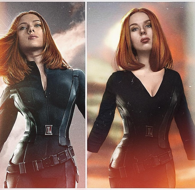<p> Có tình yêu lớn với Black Widow, Jules dành nhiều thời gian để nghiên cứu nhân vật này. Cô nàng hóa trang thành Natasha từ hình ảnh trong chiến phục là bộ đồ da màu đen bó sát...</p>
