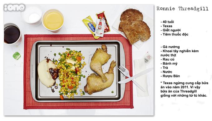 <p> Gà nướng, khoai tây nghiền, rau củ, bánh mỳ... là những gì Ronnie Threadgill yêu cầu.</p>