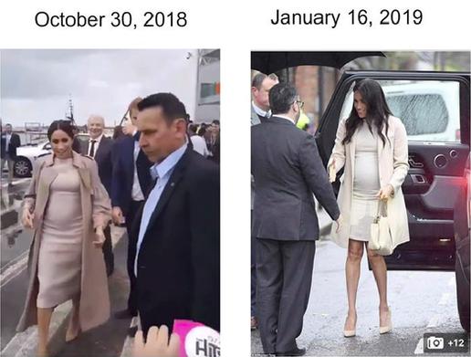 Bụng bầu hồi tháng 10 (thời điểm được cho là mang bầu gần 3 tháng)và tháng 1/2019 của Meghan trông không khác nhau là bao.
