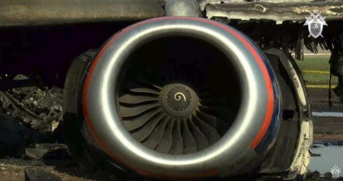 <p> Động cơ của máy baySU 1492, thuộc hãng hàng không Aeroflot, Nga.</p>