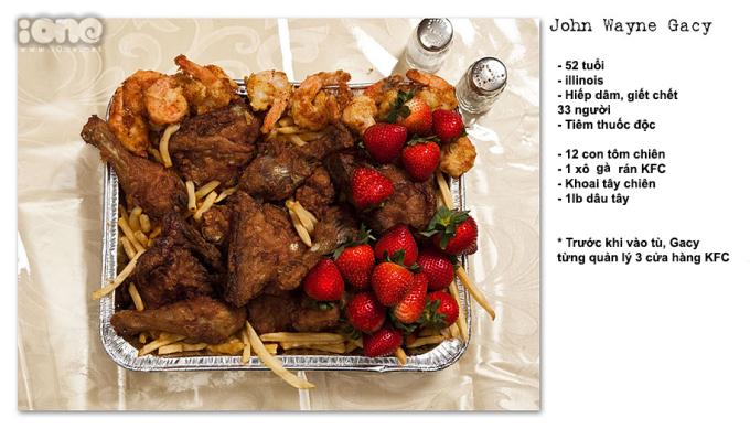 <p> Một món ăn của tử tù John Wayne Gacy với yêu cầu có tôm hùm, gà rán, khoai tây chiên...</p>