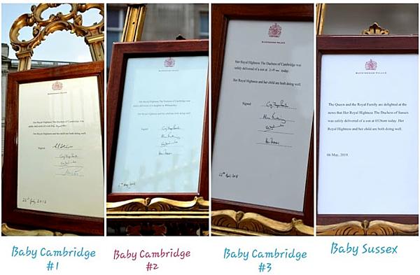 Ngày 6/5, Meghan đã sinh con (muộn 10 ngày so với dự sinh) tại một địa điểm bí mật với đội ngũ y tế do cô lựa chọn. Trong bảng thông báo mừng thành viên mới của Hoàng gia, dân mạng thắc mắc vì sao không có chữ ký của bác sĩ đỡ đẻ như những lần trước đó của Công nương Kate.