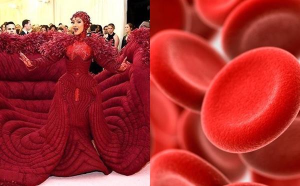 Bộ váy hoành tráng của Cardi B là một ví dụ minh họa sống động cho hình ảnh... hồng cầu.