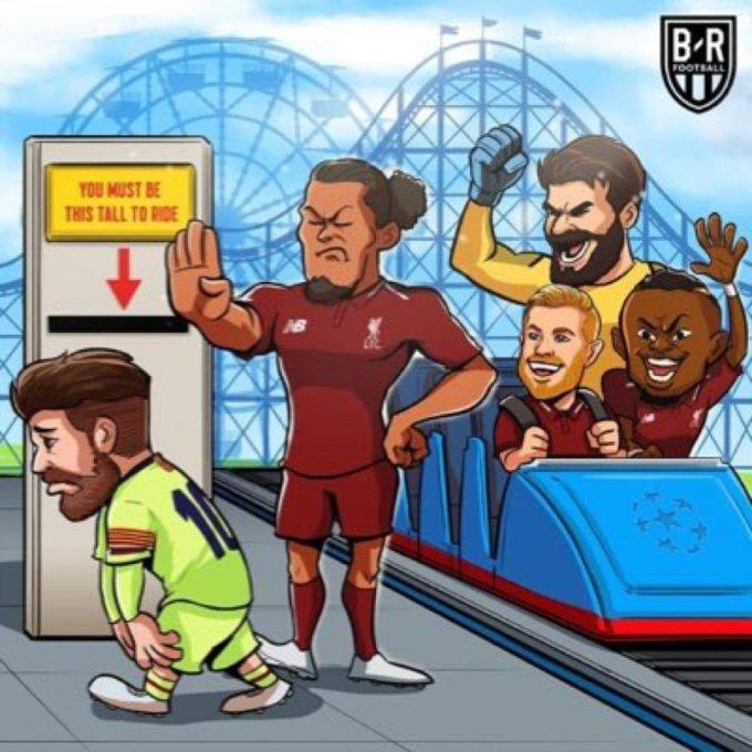 <p> Tạm biệt Messi thân yêu nhé/ Tạm biệt Barca xinh yêu/ Liverpool vào chung kết nhé.</p>