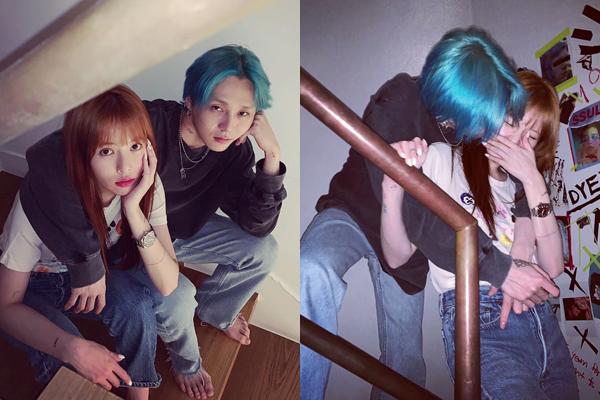 EDawn và Hyun Ah chia sẻ khoảnh khắc tình tứ như đôi chim câu với trang phục đồng điệu.